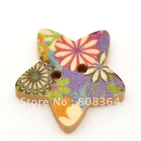 Buttons Yes flower Free Shipping 100 Pcs Star Shape 2 Holes Wood Sewing Buttons Scrapbooking 18x17mm Knopf Bouton(W01523 X 1)