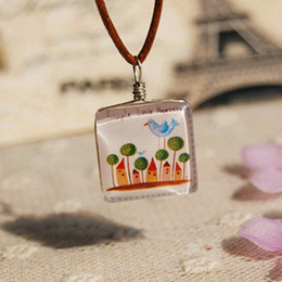Cartoon Bird Tree Castle Necklace Leather Long Necklace Vintage Handmade Glass Jewelry xl091