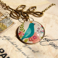 Wholesale Fairy Ethnic Blue Bird Pendant Necklace Long Necklace Handmade Vintage Jewelry Unique Design xl092