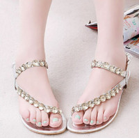 Wholesale Women Flat Slippers New Summer Women Sandals Shoes Rhinestone Jewelry Bohemia Style for Sweet Girls Gold Silver Copper
