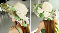 Wholesale Beautiful Women Ladies Wide Brim Large Fold Straw woman caps Summer Sun Beach Derby Hat With Ribbons