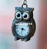 Wholesale Super Hot Sale Standing Owl Necklace Pocket Watch Antique Brass Pendant Watch Necklace Nice Owl Shape Clock WP009