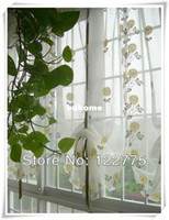 Wholesale 85 cm French Country Embroidered Yellow Sunflowers Balloon Shade Sheer Voile Cafe Kitchen Curtain E003