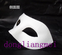 Wholesale 60pc Halloween solid white half face DIY Zorro mask Blank paper match mask Novelty Mask Halloween Party mask masquerade mask O H61