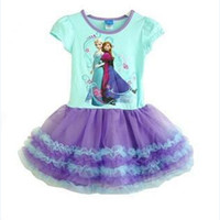 Wholesale In Stock Now h dispatch Baby girls dress kids children short sleeve FROZEN Anna Elsa ice girl dresses sylvia