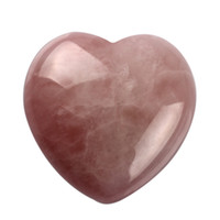 Wholesale 1 inch Natural Rose quartz Heart Shape Pink rock crystal chakra Lover gife stone carved healing reiki free pouch