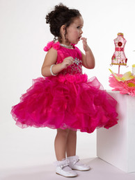 On Sale Lovely Hot Pink Girls Pageant Dresses Organza Jewel Neck Zipper Back Beading Handmade Flowers Ruffles Bottom Wholesale Girls Dresses