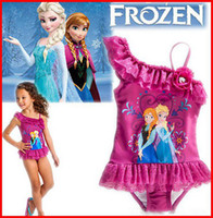 Wholesale 2014 New Girls Frozen Swimwear Girls Frozen SwimSuit Swim Wear One Piece Swim Bodysuit Frozen Anna amp Elsa Swimsuit Purple Frozen Swimwear