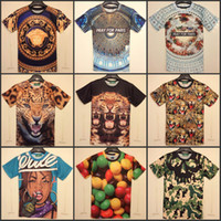 Wholesale 2014 New Summer men s clothing creative D t shirt fashion Printed O Neck short sleeve Tops Tee