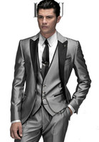 Man Suit best flying - Custom Made Slim Fit Made Groom Tuxedos Silver Grey Best man Peak Lapel Groomsman Men Wedding Suits Bridegroom Jacket Pants Tie Vest J496