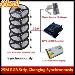 Best Christmas Lights 25M 5050 SMD RGB Led Strip Light Waterproof IP65 +RGB Amplifier + IR 44 Keys Controller + 12V 25A Transformer + Cable
