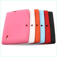 Wholesale Colorful Q88 Silicone Rubber Back Case for inch Q8 Allwinner A13 A23 ATM7021a Android Tablet PC DHL Freeshipping MQ100