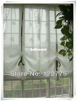 Wholesale 85 cm French Country Embroidered Roses Balloon Shade Sheer Voile Cafe Kitchen Curtain E004