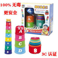 Wholesale Gustless digital color puzzle buttressed music cup set layers infant toys