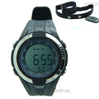 Sport Unisex Round Chest Strap Stopwatch Heart Rate Calories Digital Sports Watch with LCD Monitor Exercise Memory Mode Stopwatch 3ATM Water Resist