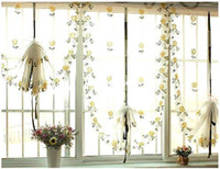 Wholesale Roman Style Flower Daisy Embroiered Pink Yellow Window Curtain Finished Product Tulles Gauze For Kitchen