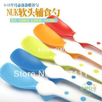 Wholesale cute NUK baby feeding soft spoon BPA free for infant months above