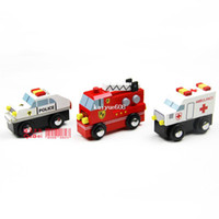 Airplanes Electric 2 Channel free shipping Wooden cars Police Car Fire Fighting Truck Ambulance compatible child early learning toy wood car toys