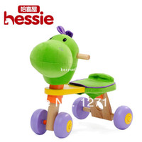 Wholesale cute Animal head baby Four Wheel Car riding on toy Glide Walker Child Stroller Toy wooden toy Birthday gift