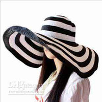 Wholesale Fashion New Women Classical Stripe Zebra Floppy Straw Wide CM Brim Beach Hat lady girls Sun Cap