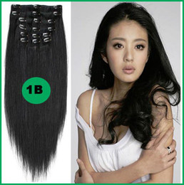 """Wholesale -12""""- 26"""", 8pcs Unprocessed remy Hair straight clip-in hair remy human hair extensions, 1B# Natural black ,100g set dhl free"""