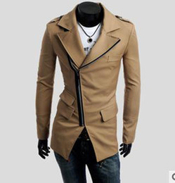 Wholesale Mens Multi zipper Suit new man s Khaki Coat Jacket Fashion Silm Fit Stylish CZJ182G