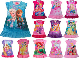 Wholesale 2014 NEW Children clothing girls dresses Frozen Printed Cartoon Short sleeve dresses casual