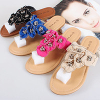 Wholesale European and American foreign trade bohemian handmade beaded flat thong sandals flip Rome flat shoes with flowers