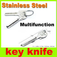 Wholesale New in multifunctional knife Mini Key Knife portable tools Swiss Tech Keyring Pocket Survival Knives keyring utility Outdoor Gadgets H