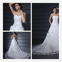 Wholesale Sweetheart Neckline Applique Court A Line Wedding Dress evening dress bridesmaid dress