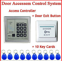 Wholesale New Electronic Door Lock RFID Proximity Electric Entry Access Control Sy with Door Exit Push Button Switch key rfid id card freeshipping