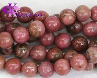 al por mayor brazalete de jade rosa-Descuento Venta al por mayor Natural Genuino Rosa Piedra Rosa Rhodonite Ronda Piedras sueltas Piedras 3-18mm Fit Joyas DIY Collar o pulsera 15.5