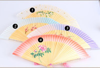 Wholesale PYJ Crystal handle Chinese style Grade Freehand flower silk fan Folding Wedding party Stage props