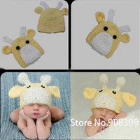Unisex Summer Crochet Hats Unisex Hand Crochet Baby Deer Beanie Hat Cute Animal Costume Photography Photo Props 0-6 Months Newborn GIFT Free Shipping
