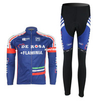 Full cycling jersey wholesale - DE ROSA FLAMINIA team long sleeve autumn cycling wear clothes bicycle bike riding cycling jerseys pants set
