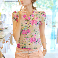 Short Sleeve Polyester Women Nice quality 2014 casual women blouse short-sleeve floral print chiffon blouse top, 3 colors, Size M L XL XXL