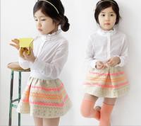 Wholesale Spring Summer Big Children Girl Clothing Set High Grade Good Quality Long Sleeve Shirt Short Skirt Kids Suit New Arriva Clothes GX112