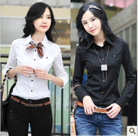 Long Sleeve Cotton Women women fashion office lady cotton blouse black and white S-XXL free shipping