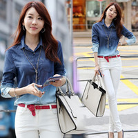 Long Sleeve Cotton Women 2014 spring S-XXL high quality Women's Jeans s Long Sleeve cotton Ladies Denim Gradient women Blouse