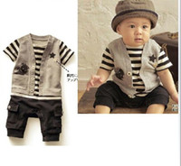 Wholesale retail baby boys romper baby clothing striped baby sport jumpsuit kids clothes children clothing