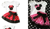 Girl Spring / Autumn Short In Stock Big Sale 2014 Summer Children Girl's 2PC Sets Skirt Suit Minnie Mouse baby Clothing sets dots skirt dot pants ELZ-T0224