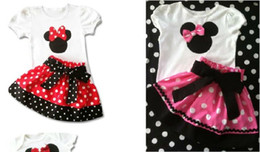 Wholesale In Stock Big Sale Summer Children Girl s PC Sets Skirt Suit Minnie Mouse baby Clothing sets dots skirt dot pants ELZ T0224