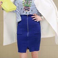 Chiffon Above Knee Women Fashion Vintage High Waist Elastic Knitted Bust Skirt Elegant Lady Zipper Pocket Shorts Skirts With Slit LSP1013 Free Shipping