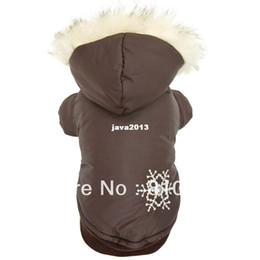 Головные уборы для собак Онлайн-Повседневная теплый толстый Собака Кошка Pet Одежда Одежда толстовка с капюшоном Пальто Собаки Одежда Твердые Браун Снежинка зимние костюмы Съемный Hat