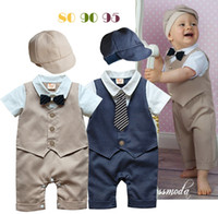 Wholesale NEW baby romper boy s romper bebe pieces romper set Hat vest romper gentleman bebe sleepsuits infants wearing