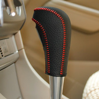 Wholesale XuJi Gear Shift Knob Cover For Ford Focus Ford Fiesta Automatic Car Special Hand stitched Black Genuine Leather Covers