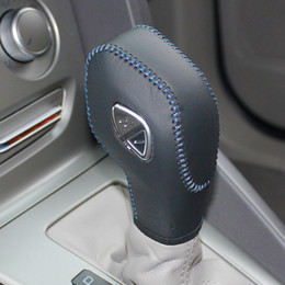 Wholesale XuJi Gear Shift Knob Cover For Ford Focus Ford KUGA Automatic Car Special Hand stitched Black Genuine Leather Covers