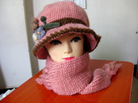 Wholesale 2014 New Fashion Girl Beanies Knitted Hat Winter hat branch scarf sets vwith colors
