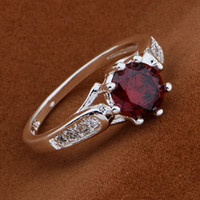Wholesale Top quality new Multi colors sterling Silver fashion CZ crystal Beautiful stone ring jewelry