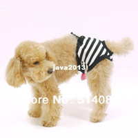 Dog Costumes pet and dog diapers - Pet Dog Sanitary Pant Panty Black and white Striped Pattern Diaper Briefs Shorts S M